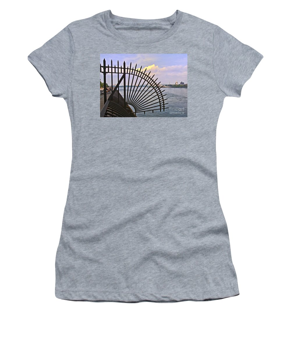 East River Women's T-Shirt (Athletic Fit) featuring the photograph East River View Through The Spokes by Madeline Ellis