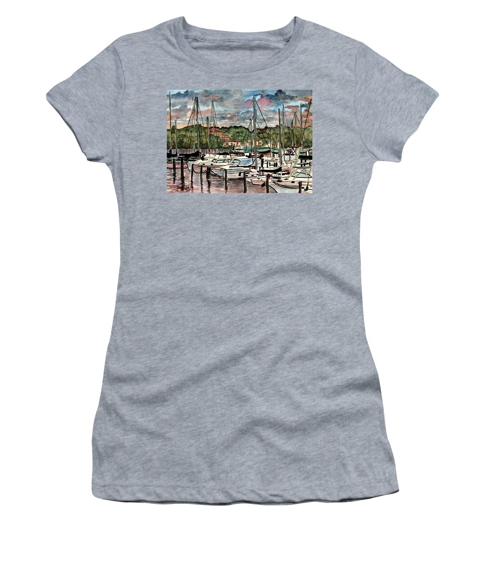 Sailboat Women's T-Shirt (Athletic Fit) featuring the painting Eau Gallie Seascape Painting by Derek Mccrea