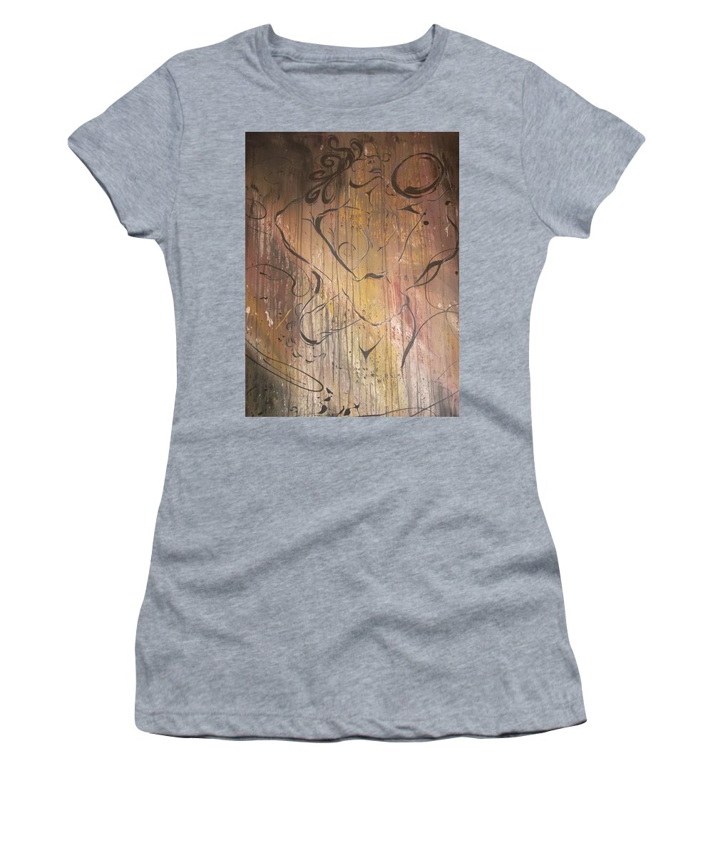 Ecstacy Women's T-Shirt (Athletic Fit) featuring the painting Ecstacy by Hasaan Kirkland