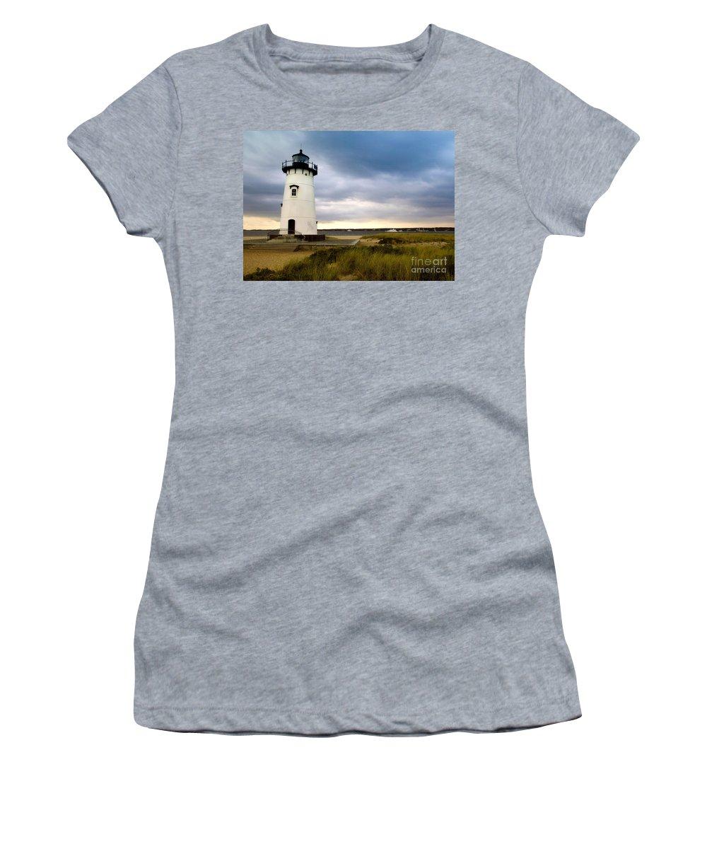 Edgartown Lighthouse Women's T-Shirt (Athletic Fit) featuring the photograph Edgartown Lighthouse Cape Cod by Matt Suess
