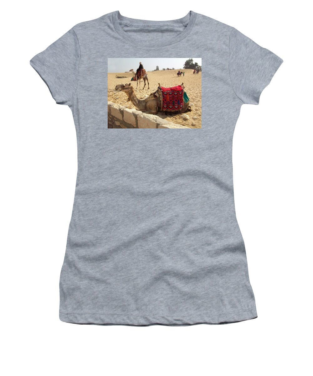 Egypt Women's T-Shirt (Athletic Fit) featuring the photograph Egypt - Camel Getting Ready For The Ride by Munir Alawi
