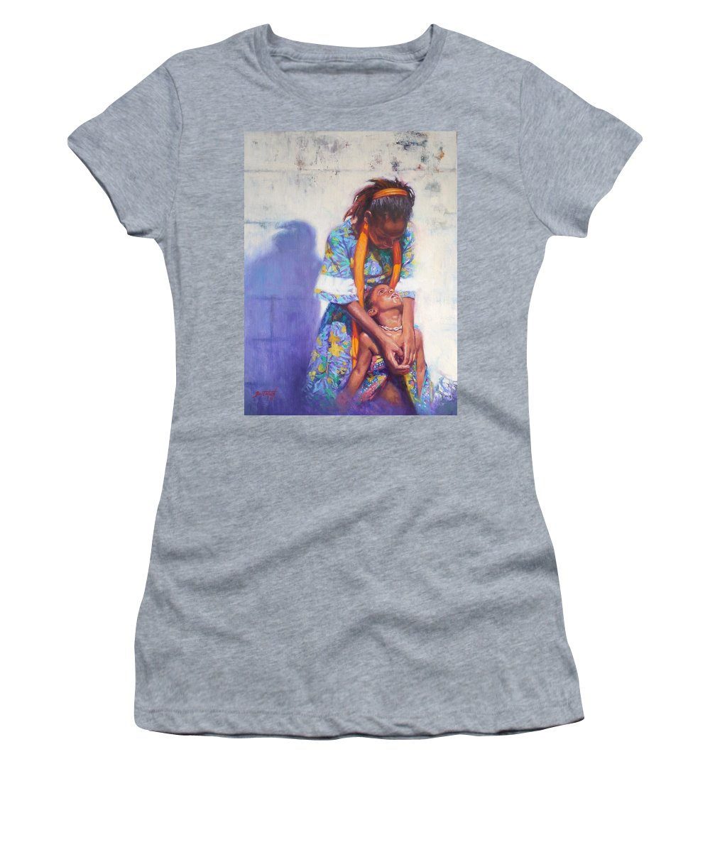 Black Art Women's T-Shirt featuring the painting Emancipation by Colin Bootman