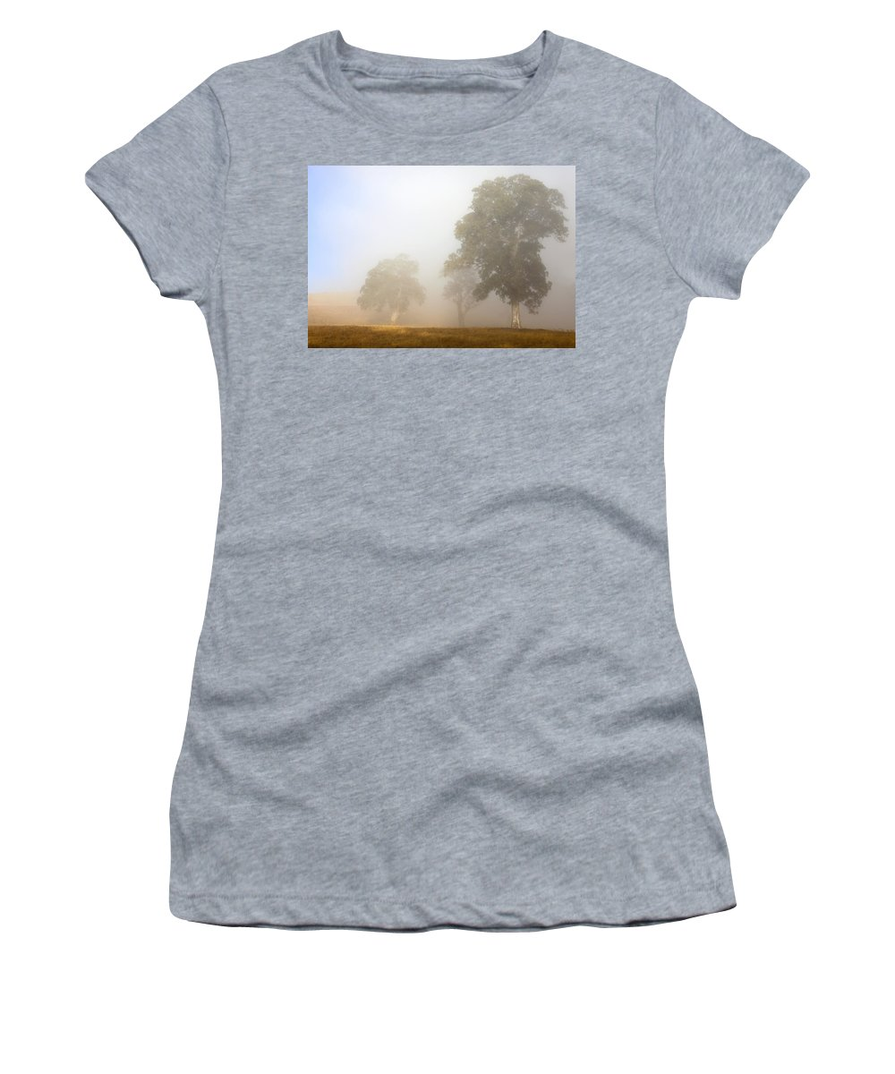 Gum Tree Women's T-Shirt (Athletic Fit) featuring the photograph Emerging From The Fog by Mike Dawson