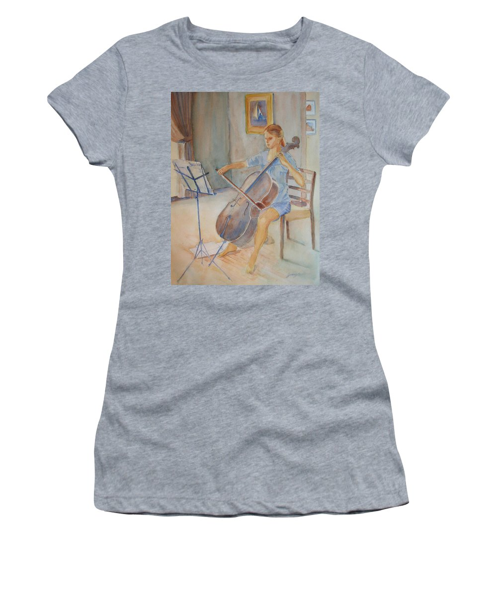 Girls Women's T-Shirt (Athletic Fit) featuring the painting Emma And Clifford by Jenny Armitage