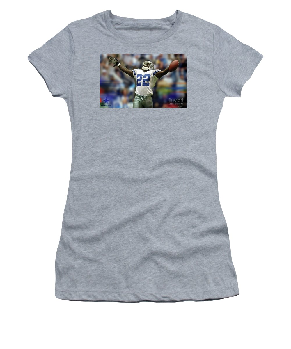 Emmitt Smith Women's T-Shirt featuring the mixed media Emmitt Smith, Number 22, Running Back, Dallas Cowboys by Thomas Pollart