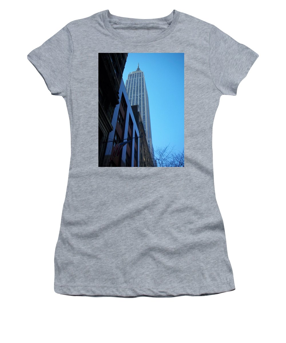 Emoire State Building Women's T-Shirt (Athletic Fit) featuring the photograph Empire State 1 by Anita Burgermeister