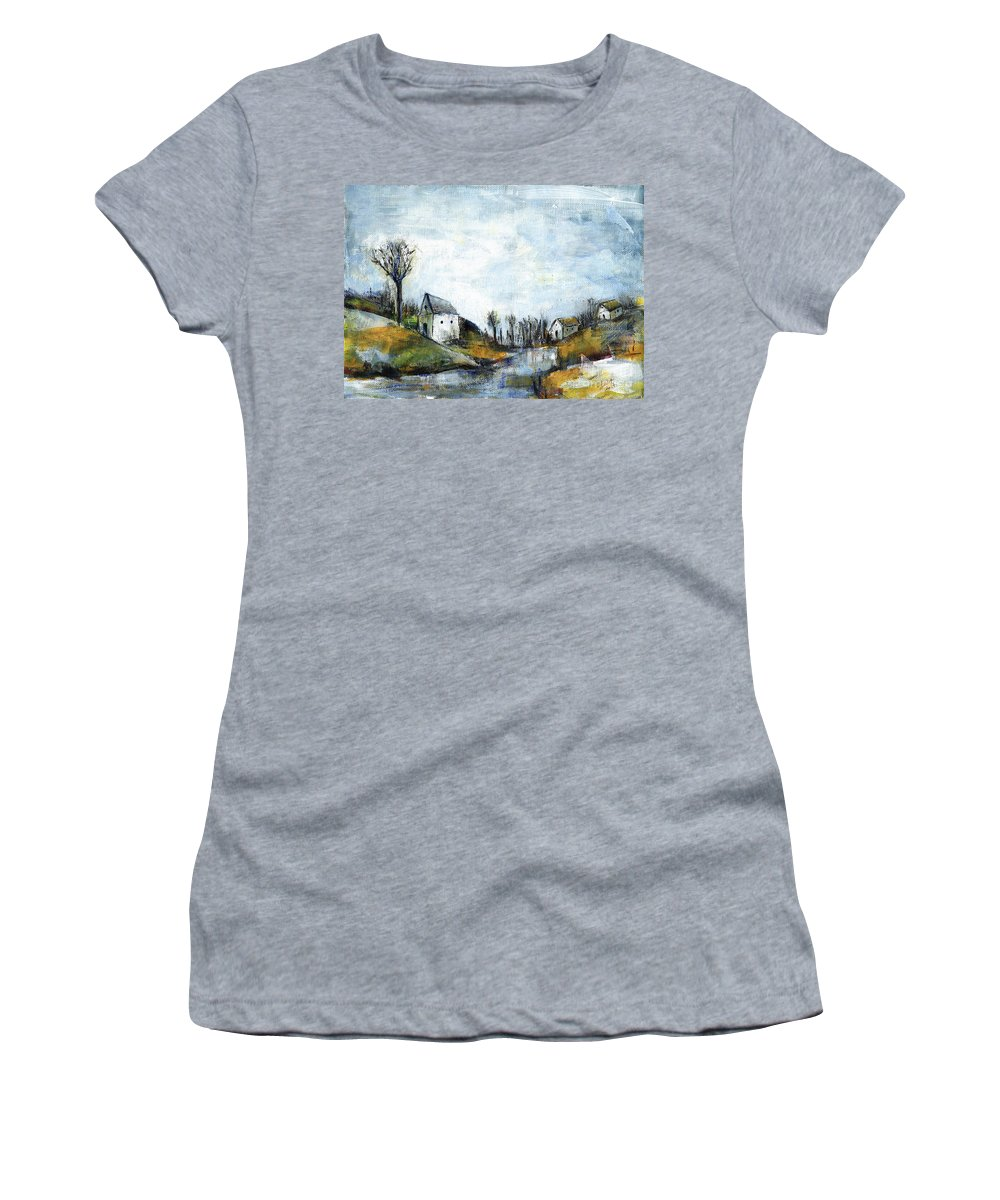 Landscape Women's T-Shirt featuring the painting End of winter - acrylic landscape painting on cotton canvas by Aniko Hencz