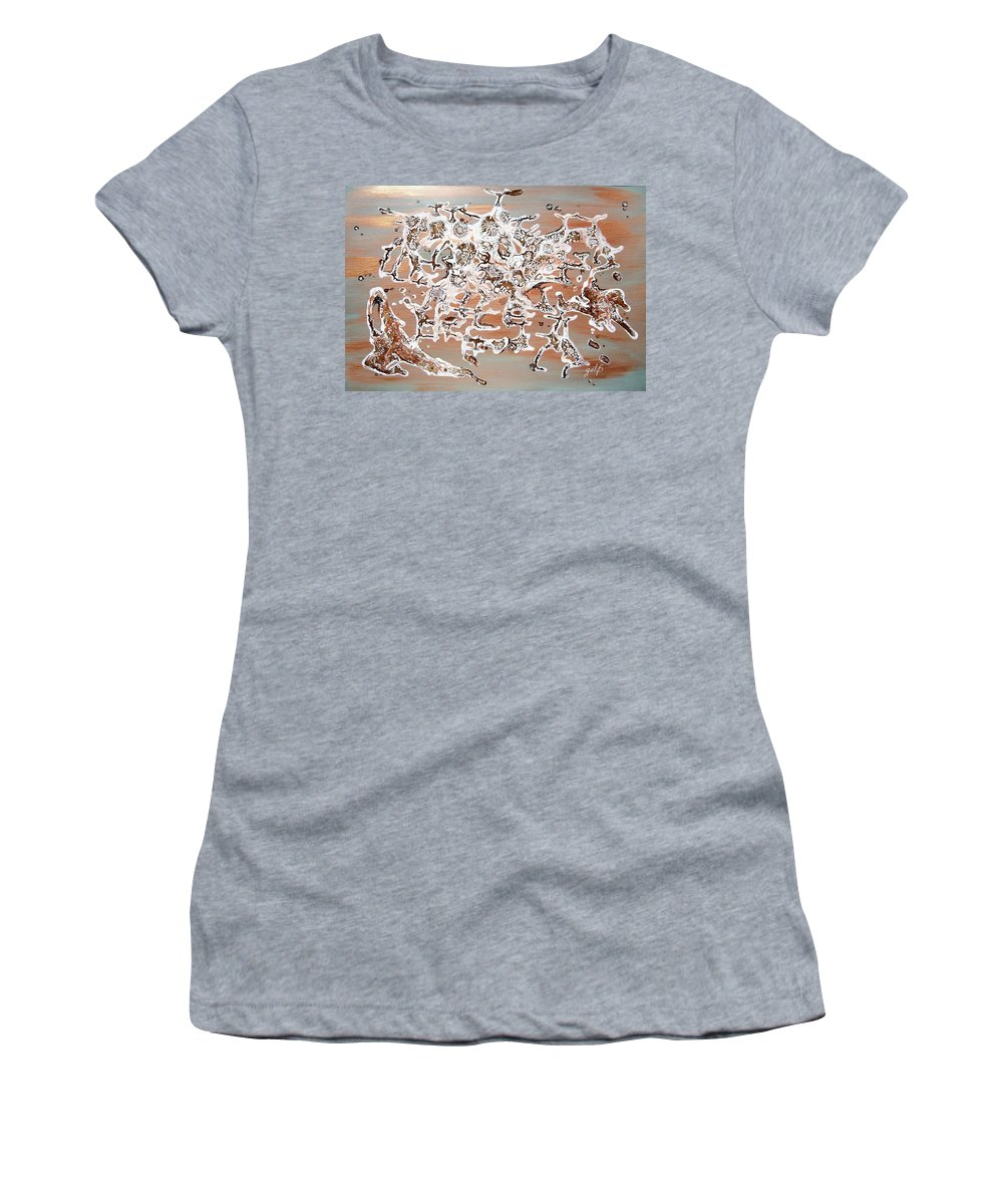 Abstract Mixed Media Women's T-Shirt featuring the painting Energy Dance by Georgeta Blanaru
