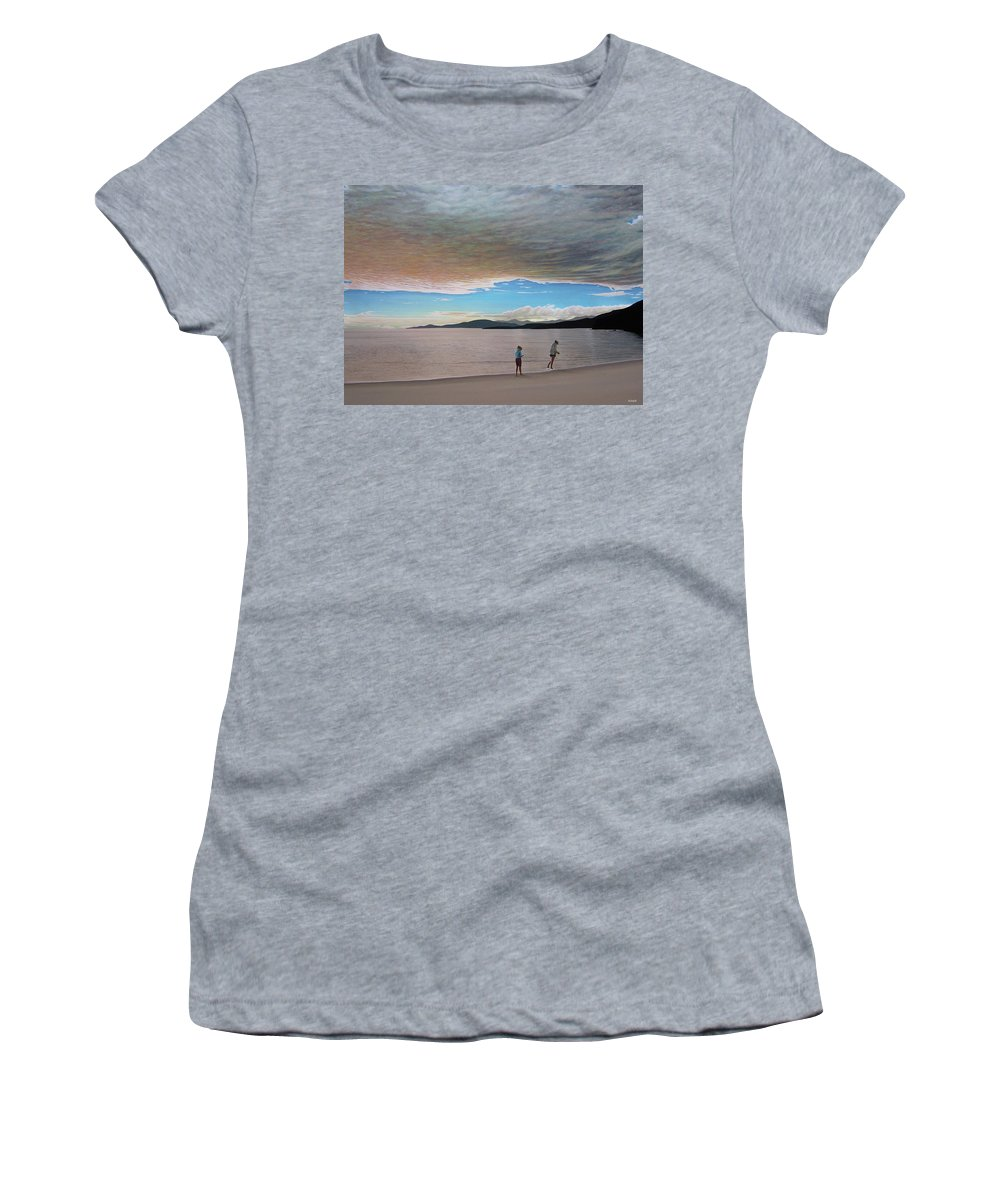 Landscapes Women's T-Shirt (Athletic Fit) featuring the painting English Bay Vancouver by Kenneth M Kirsch