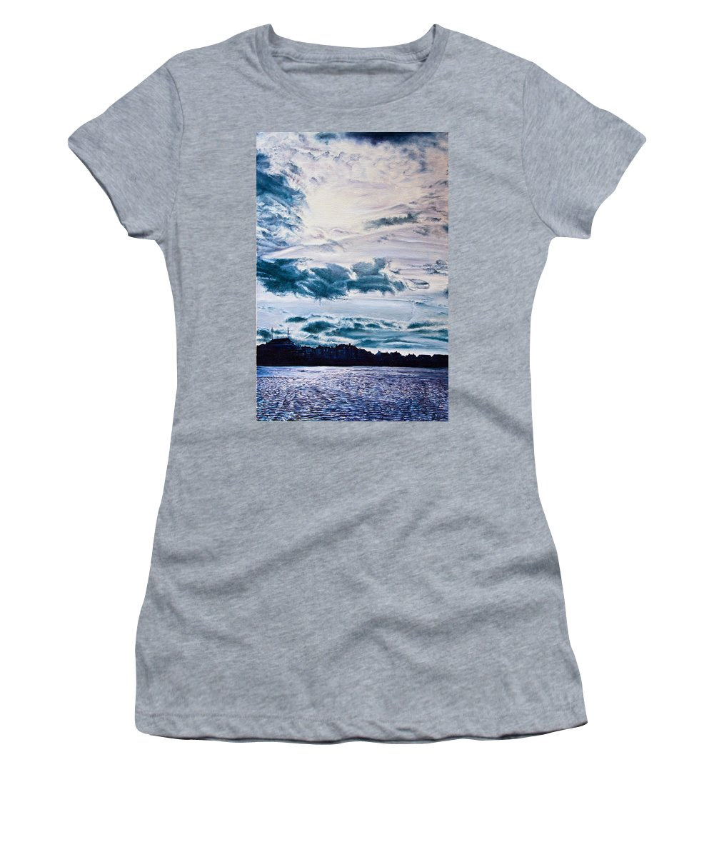 Skies Women's T-Shirt (Athletic Fit) featuring the painting English Beach by Michel Angelo Rossi
