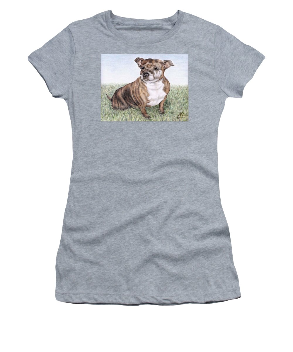 Dog Women's T-Shirt featuring the drawing English Staffordshire Terrier by Nicole Zeug