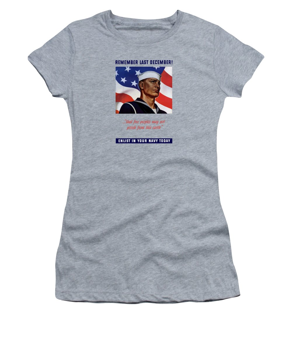 Navy Women's T-Shirt featuring the painting Enlist In Your Navy Today - Ww2 by War Is Hell Store