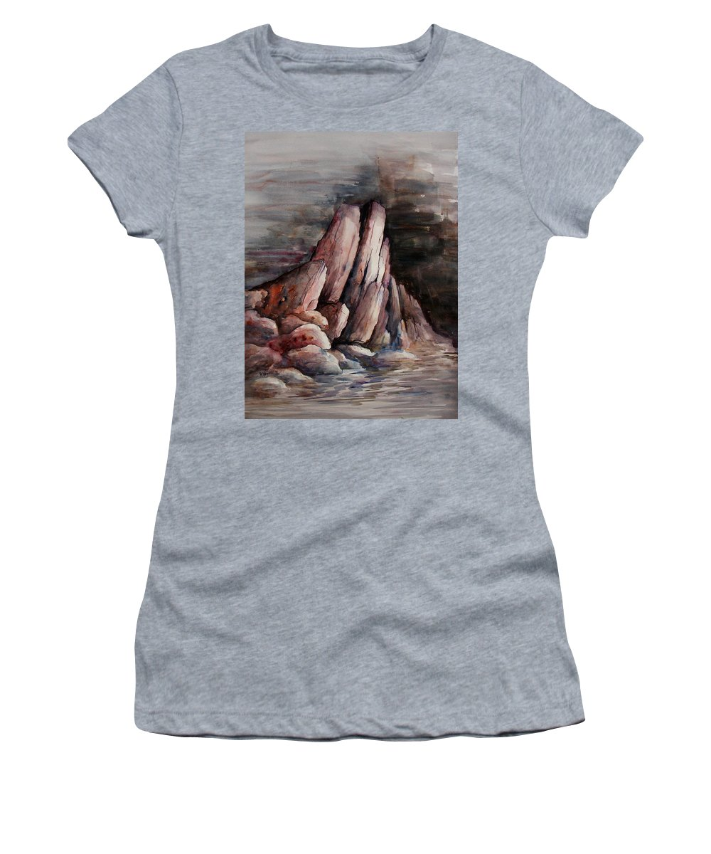 Landscape Women's T-Shirt (Athletic Fit) featuring the painting Eruption by Rachel Christine Nowicki