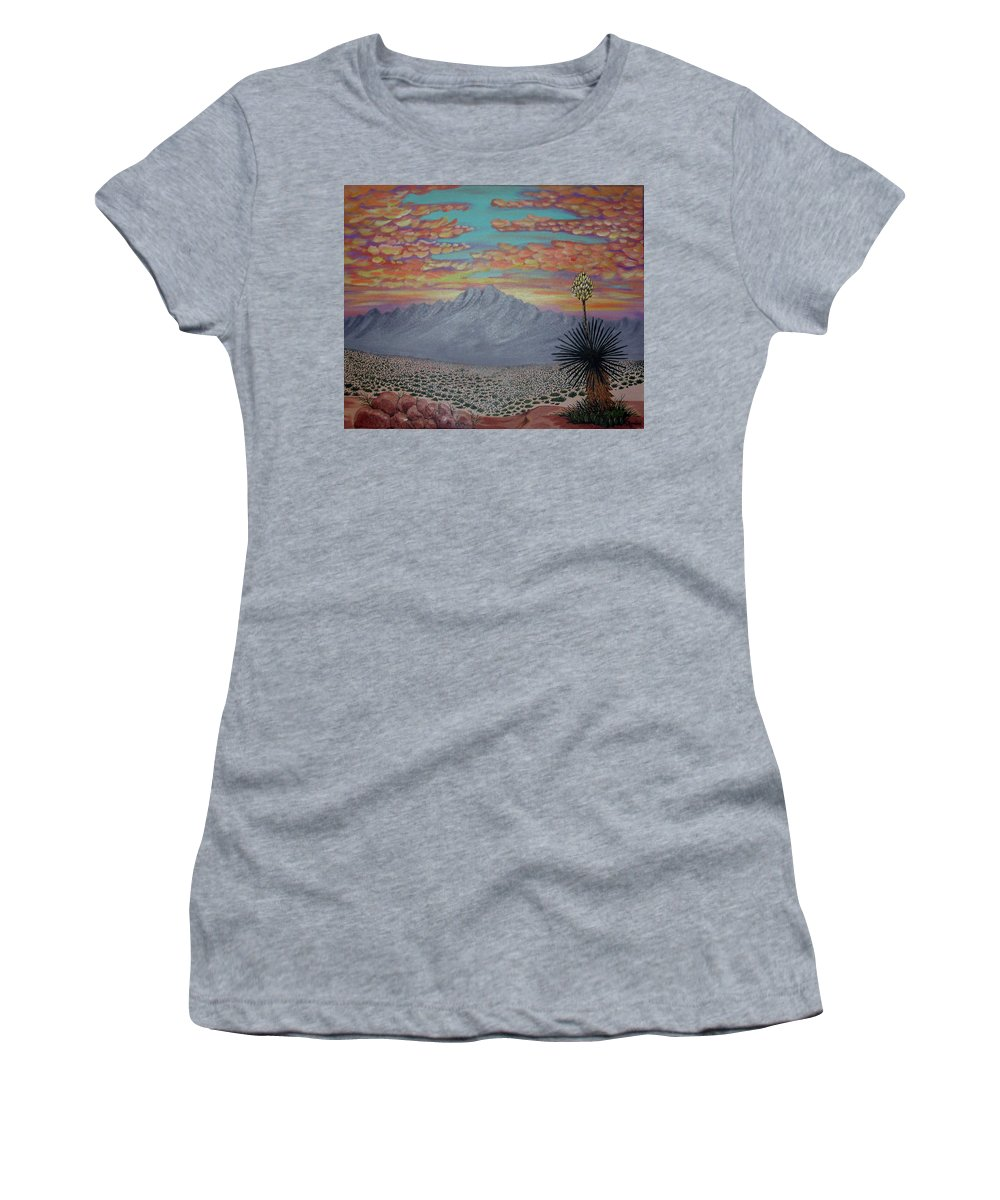 Desertscape Women's T-Shirt (Athletic Fit) featuring the painting Evening In The Desert by Marco Morales