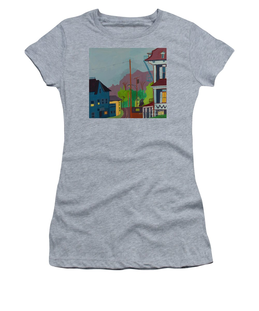 Town Women's T-Shirt (Athletic Fit) featuring the painting Evening In Town Chelmsford Ma by Debra Bretton Robinson
