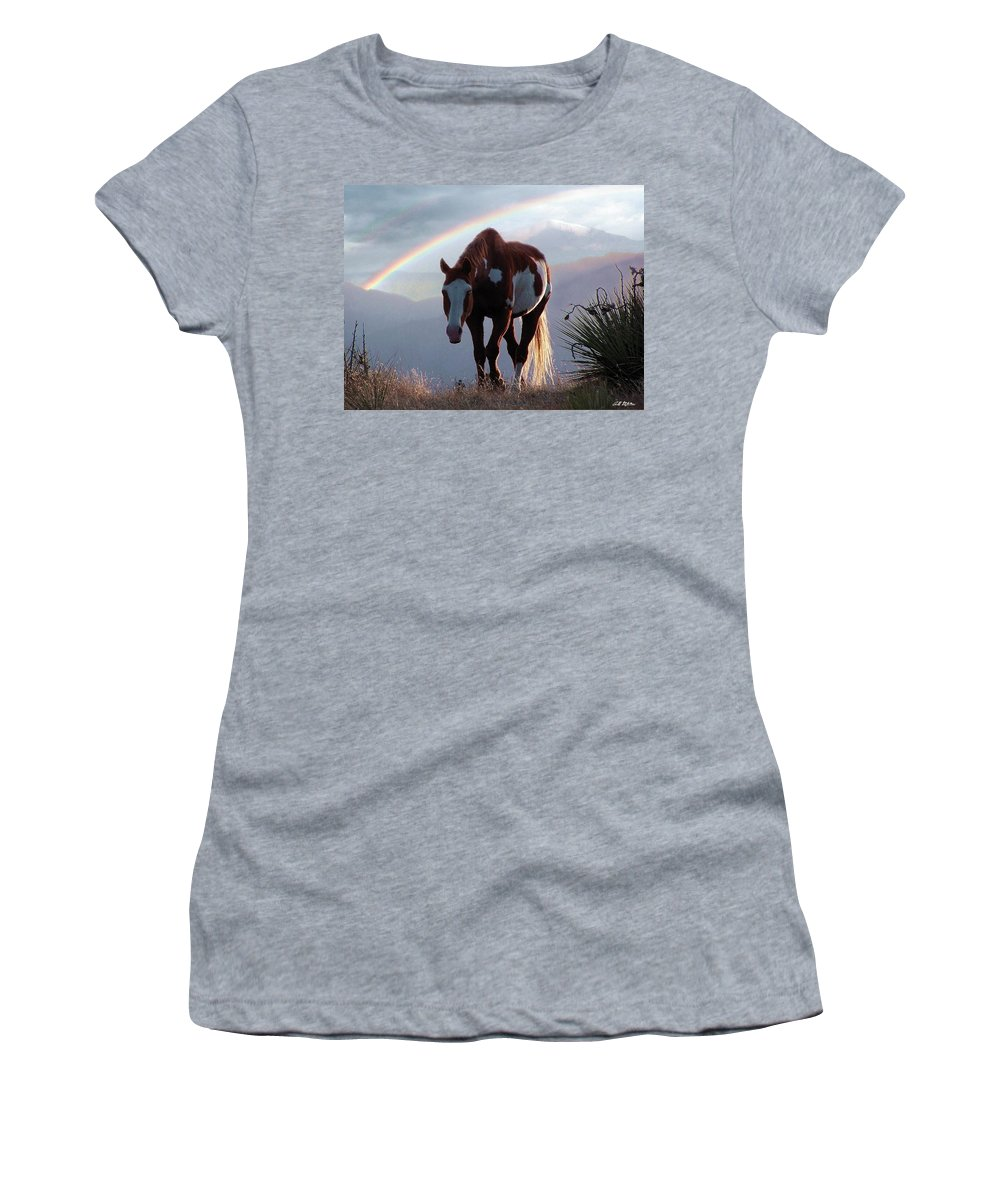 Horses Women's T-Shirt featuring the mixed media Evening Promise by Bill Stephens
