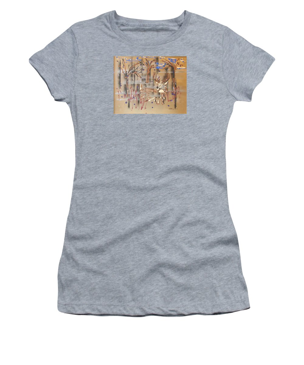 Buck In Tree Line Women's T-Shirt (Athletic Fit) featuring the painting Everwatchful by J R Seymour