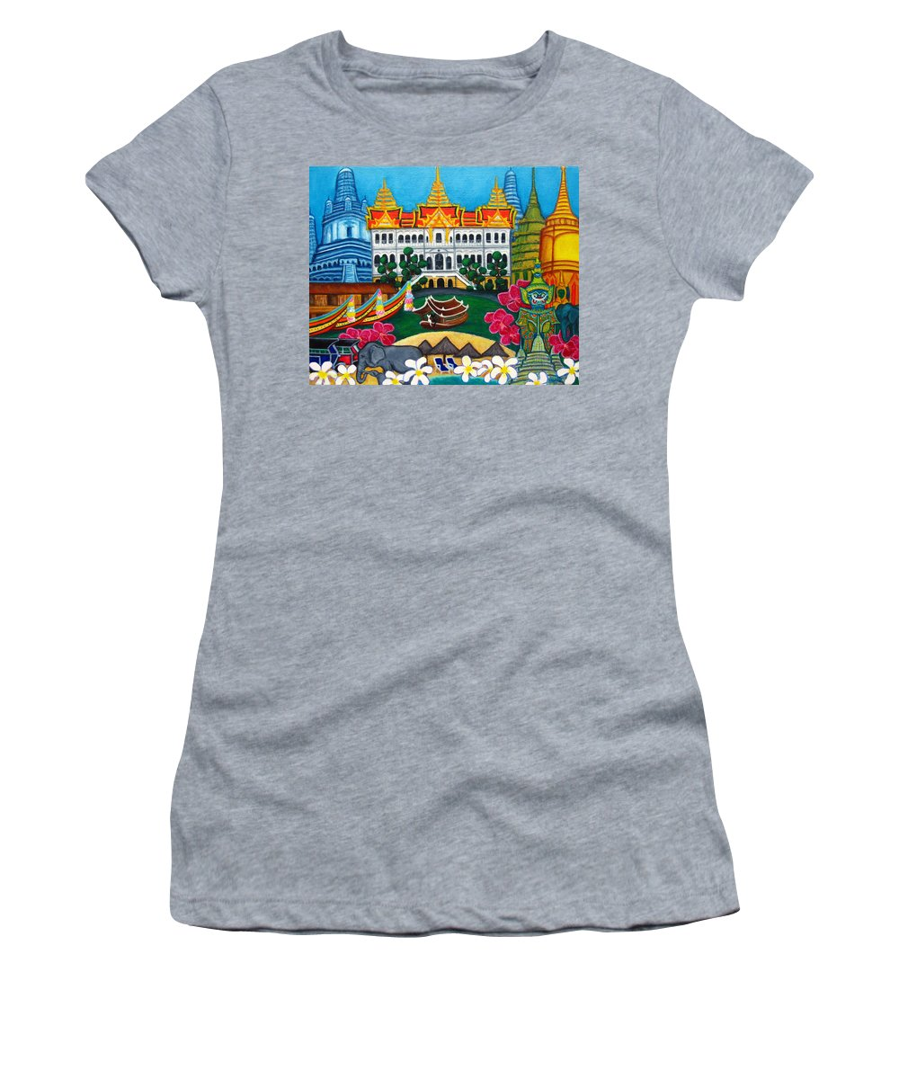 Bangkok Women's T-Shirt (Athletic Fit) featuring the painting Exotic Bangkok by Lisa Lorenz