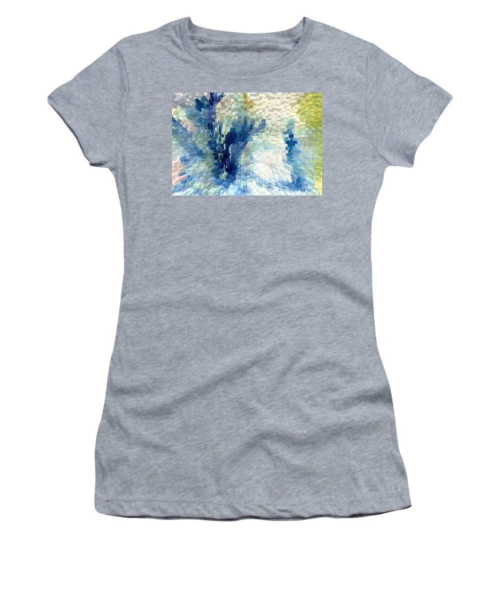Abstract Women's T-Shirt (Athletic Fit) featuring the painting Extrude by Steve Karol