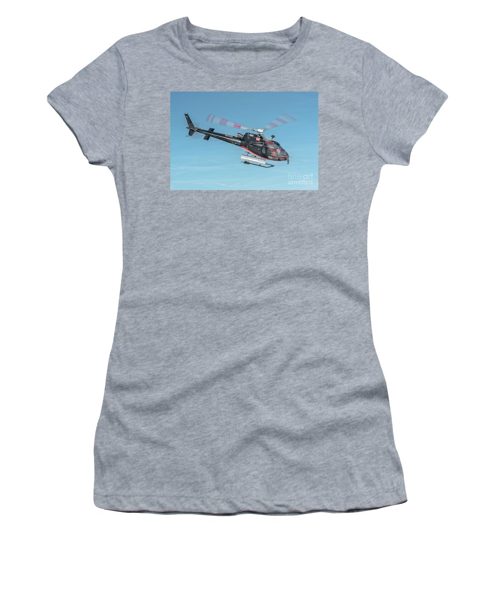 Eurecuil Women's T-Shirt featuring the photograph F-gsdg Eurocopter As350 Helicopter In Blue Sky by Roberto Chiartano