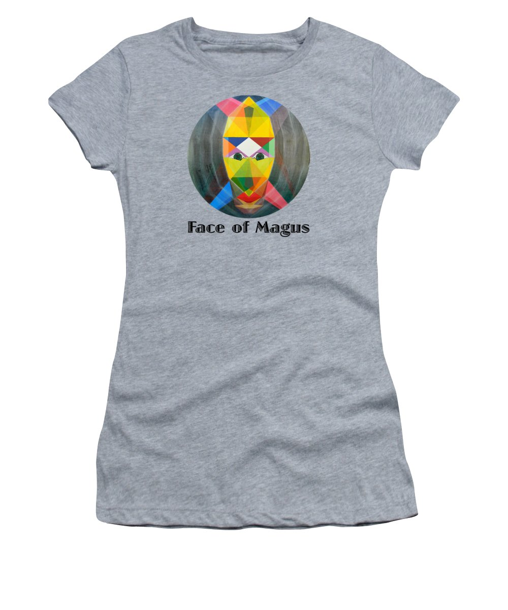 Painting Women's T-Shirt featuring the painting Face of Magus text by Michael Bellon