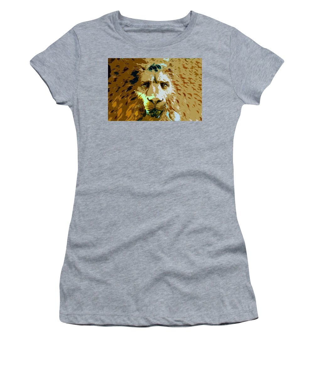 Lion Women's T-Shirt featuring the painting Face Of The Lion by David Lee Thompson