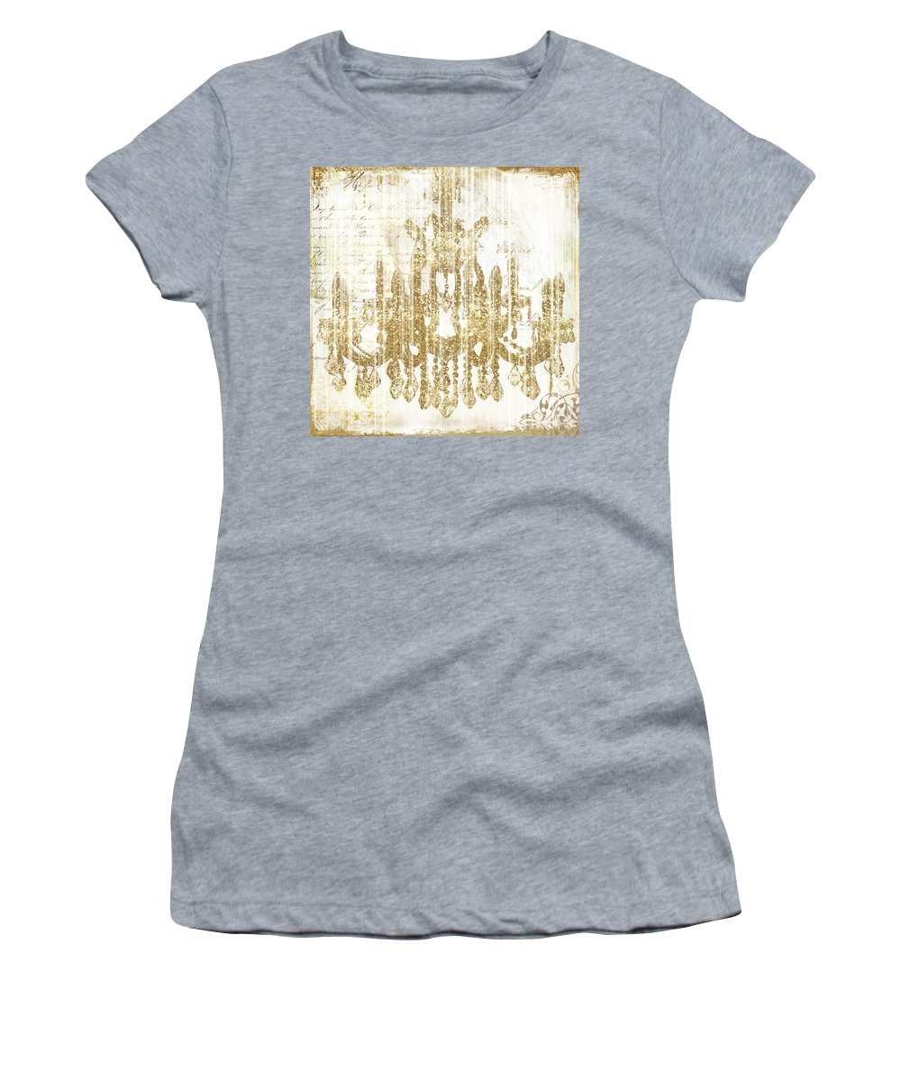 Chandelier Women's T-Shirt (Athletic Fit) featuring the painting Fairytale Ballroom by Mindy Sommers