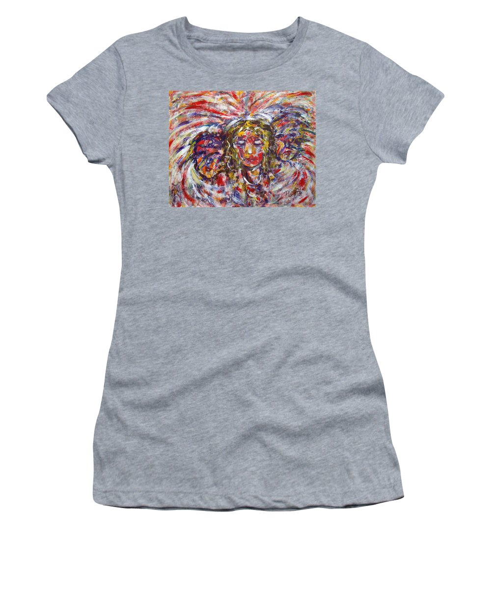 Woman Women's T-Shirt (Athletic Fit) featuring the painting Faith Hope And Love by Natalie Holland