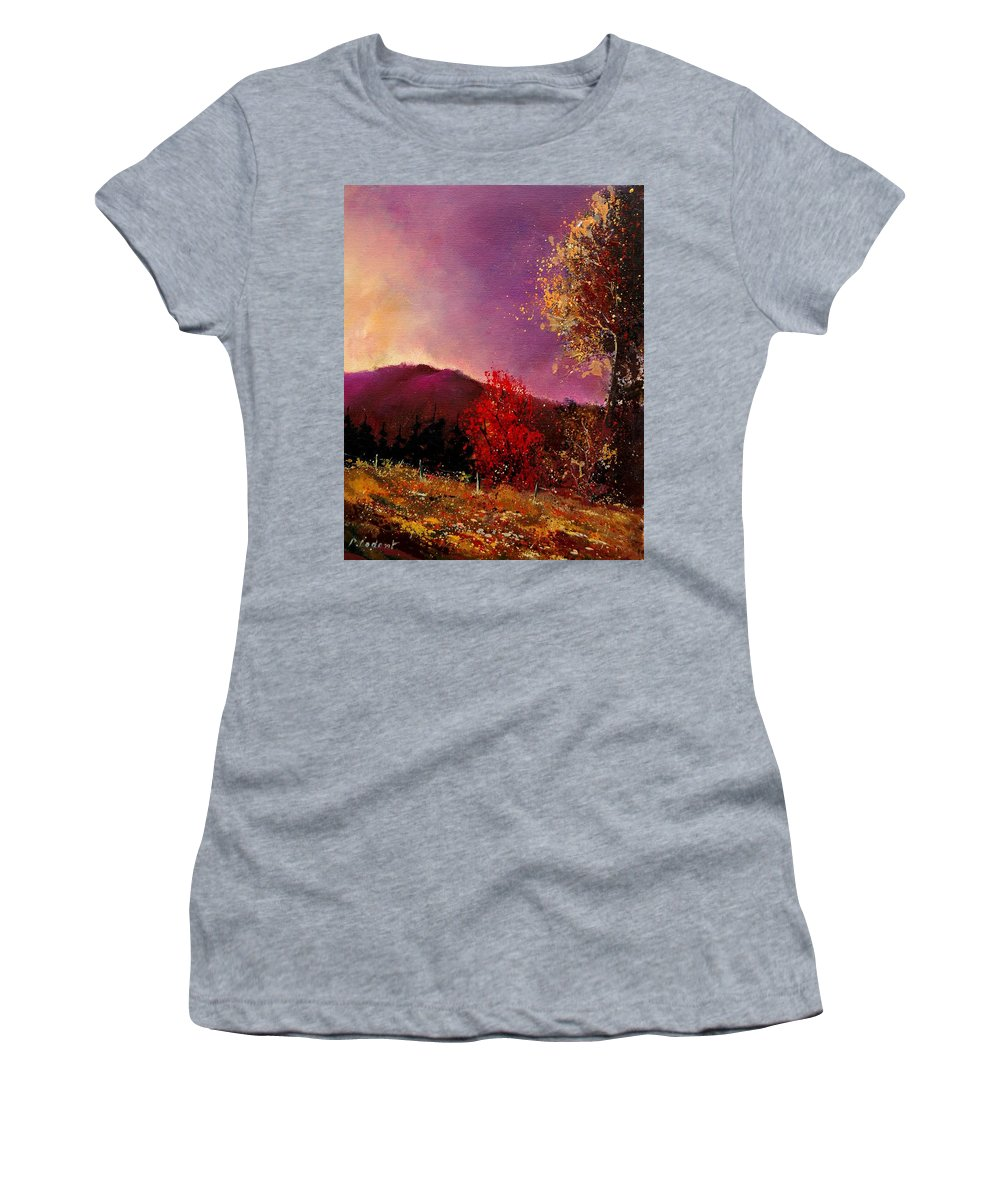 River Women's T-Shirt (Athletic Fit) featuring the painting Fall Colors by Pol Ledent