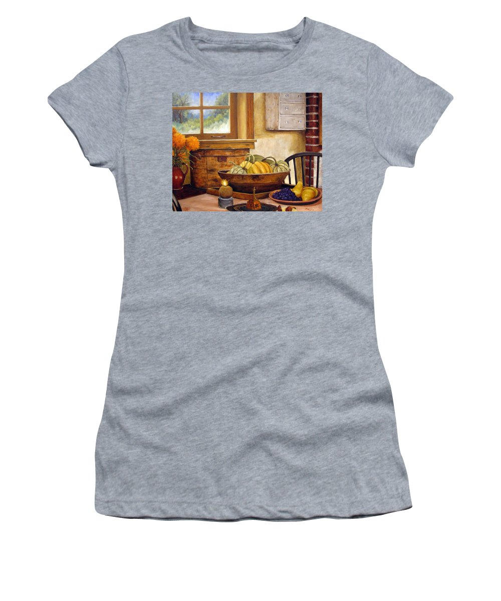 Fall Women's T-Shirt (Athletic Fit) featuring the painting Fall Harvest by Richard T Pranke