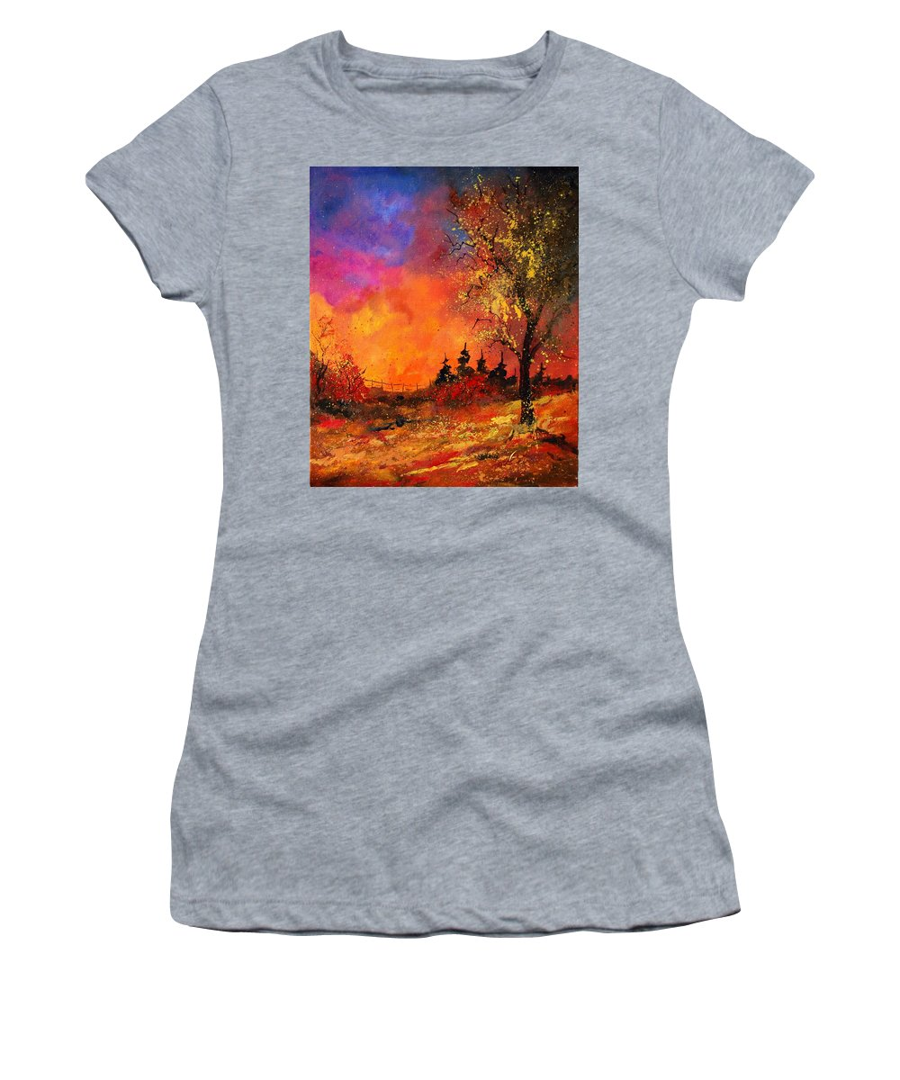River Women's T-Shirt (Athletic Fit) featuring the painting Fall by Pol Ledent