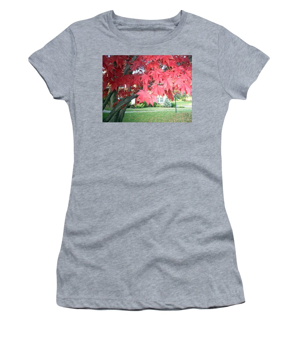 Fall Pictures Women's T-Shirt (Athletic Fit) featuring the photograph Fall Reds by Karin Dawn Kelshall- Best