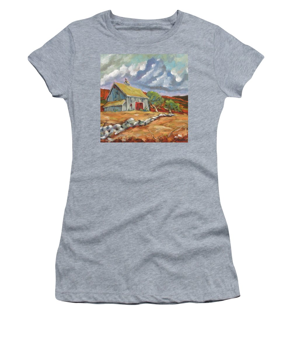 Farm Women's T-Shirt featuring the painting Fall Scene by Richard T Pranke