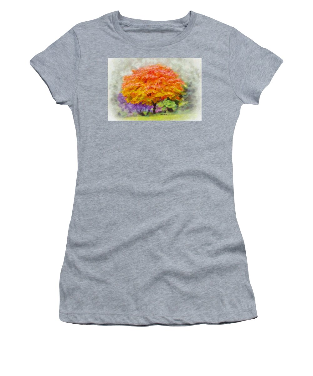 Tree Women's T-Shirt featuring the painting Fall Tree by Greg Collins