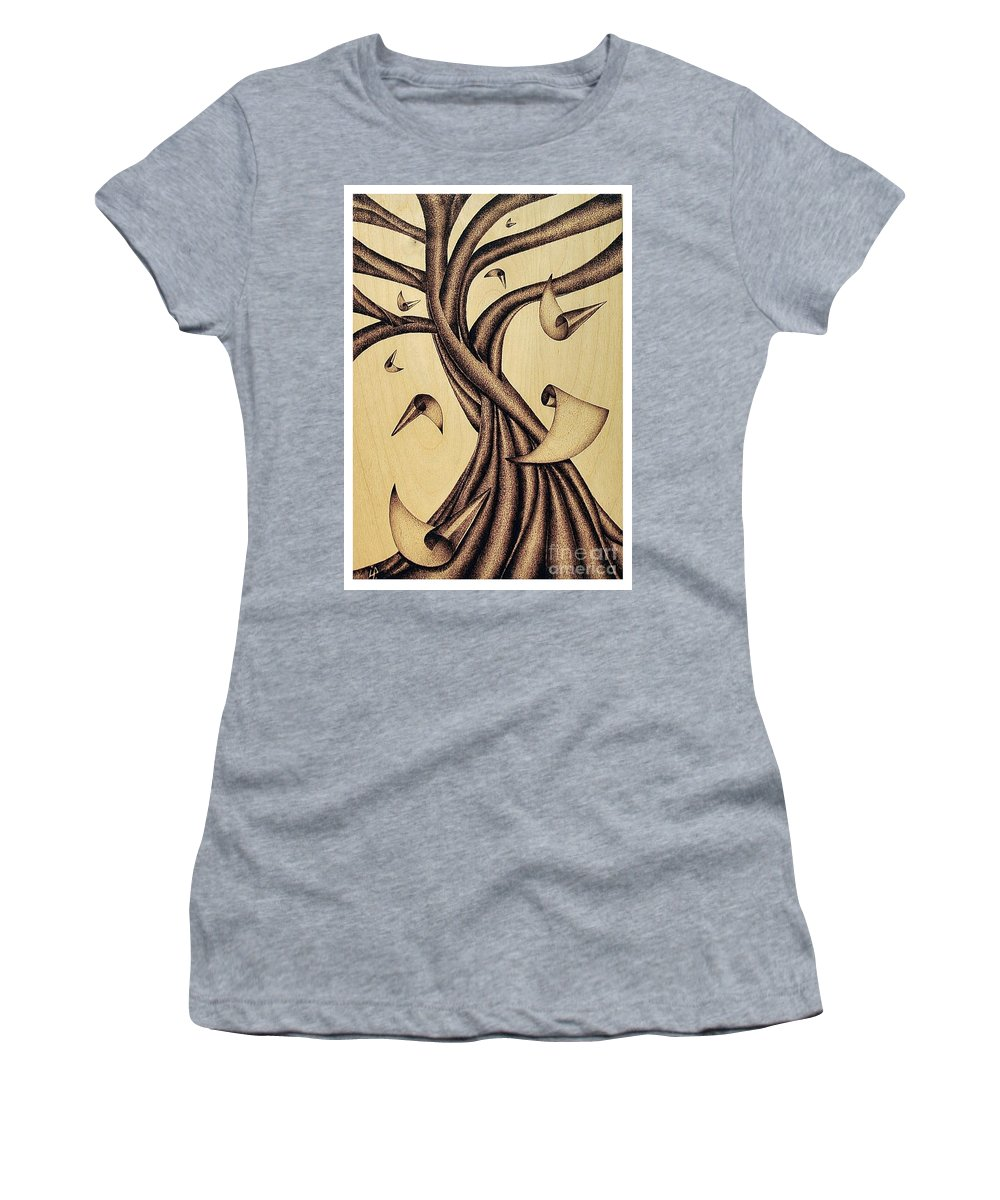 Albero Women's T-Shirt (Athletic Fit) featuring the pyrography Falling by Ilaria Andreucci