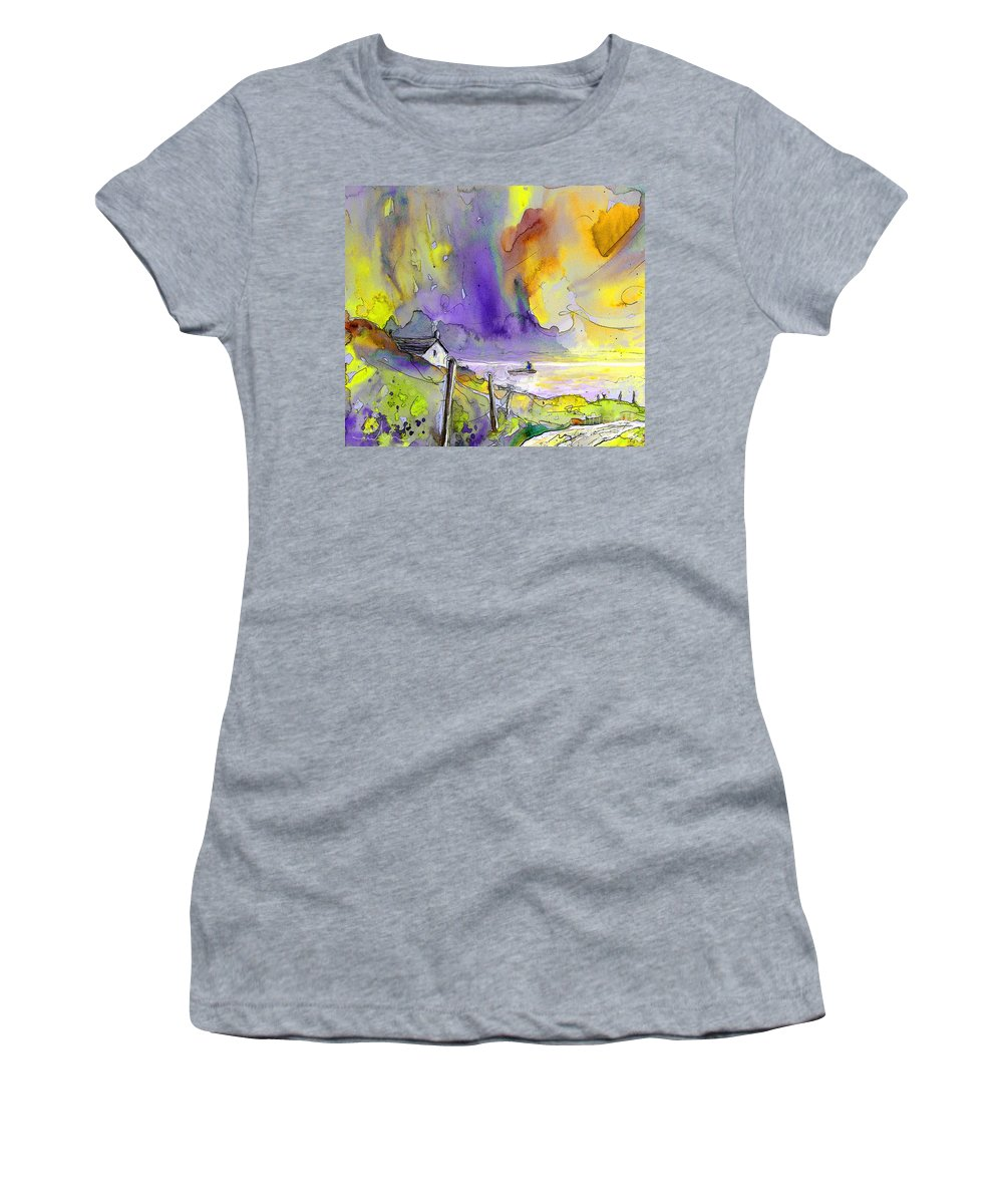 Fantasy Seascape Women's T-Shirt (Athletic Fit) featuring the painting Fantaquarelle 03 by Miki De Goodaboom