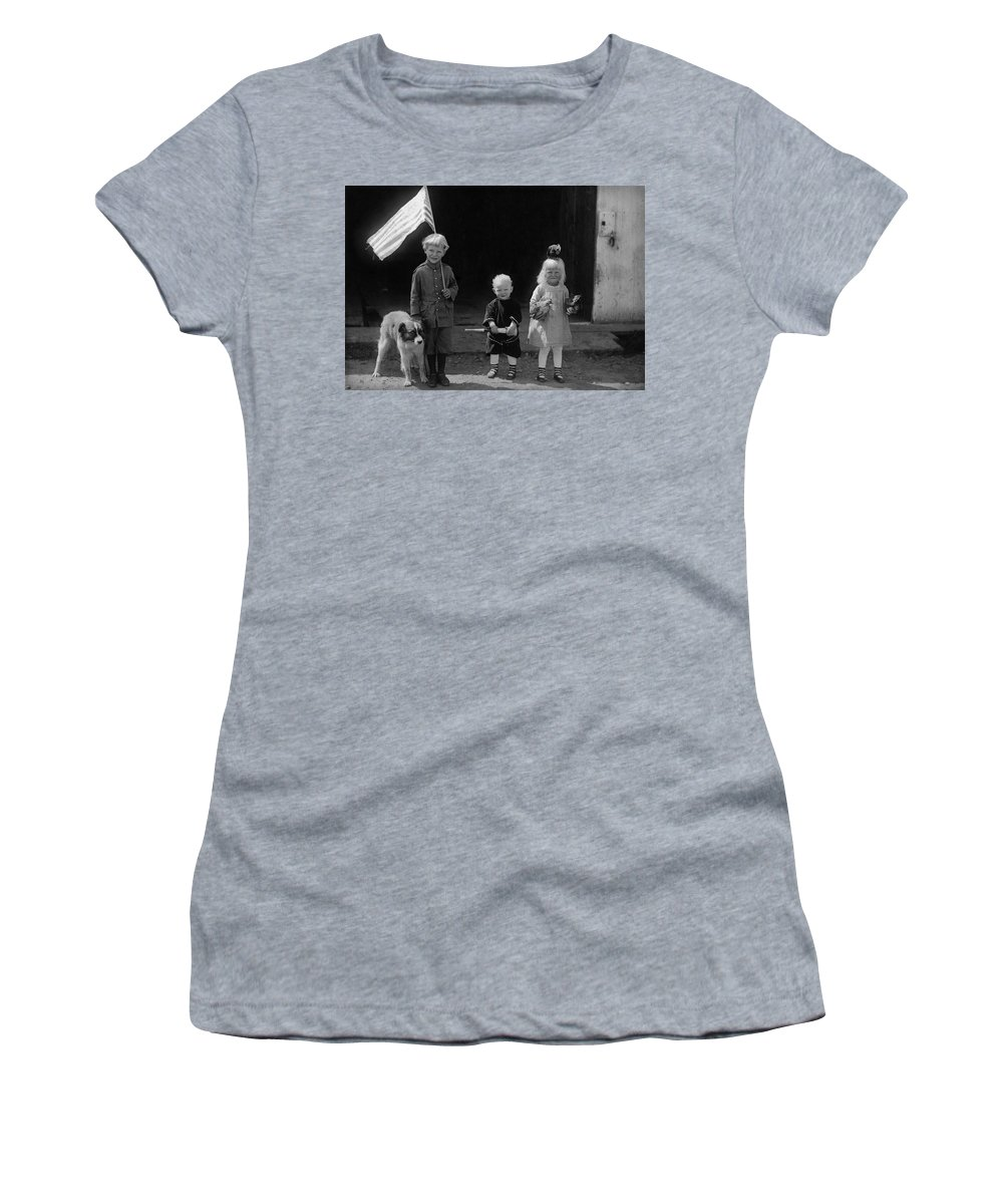 Farm Life Women's T-Shirt (Athletic Fit) featuring the photograph Farm Children And Flag by Unknown