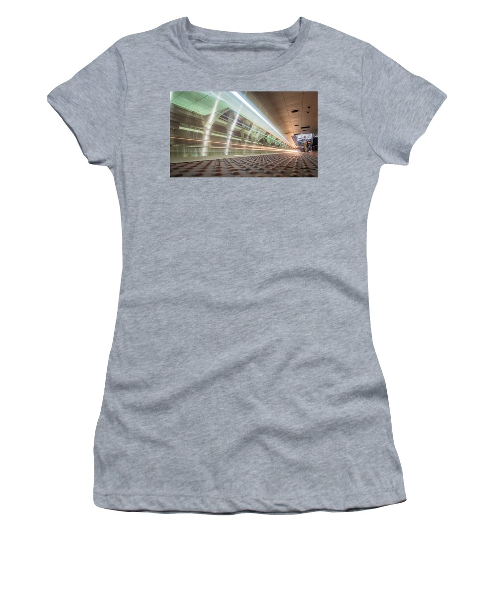 New Women's T-Shirt featuring the photograph Fast Moving Long Exposure Of Subway Train Underground Tunnel by Alex Grichenko