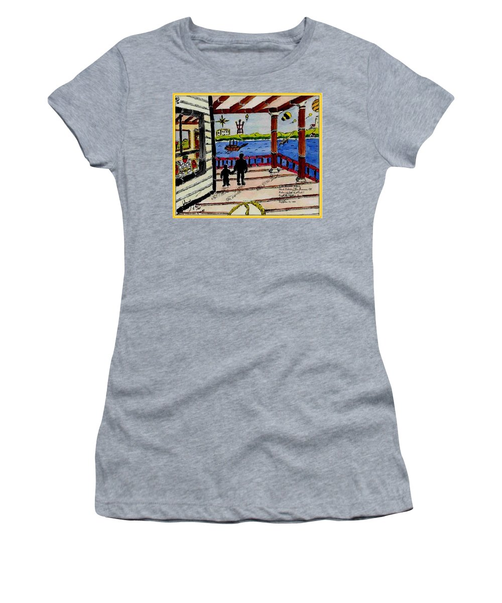 Boy Women's T-Shirt featuring the painting Father and son on the Porch by Anthony Benjamin