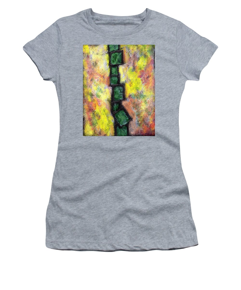 Abstract Women's T-Shirt (Athletic Fit) featuring the painting Faux Tile Two by Wayne Potrafka