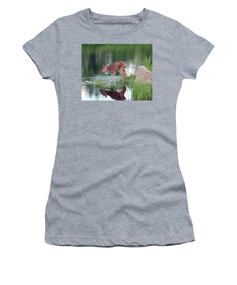Deer Women's T-Shirt (Athletic Fit) featuring the photograph Fawn At The Water Hole by Herbert L Fields Jr