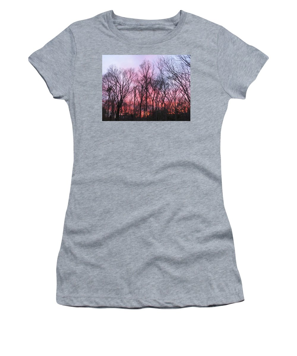 February At Twilight Women's T-Shirt (Athletic Fit) featuring the photograph February At Twilight by Jean Costa