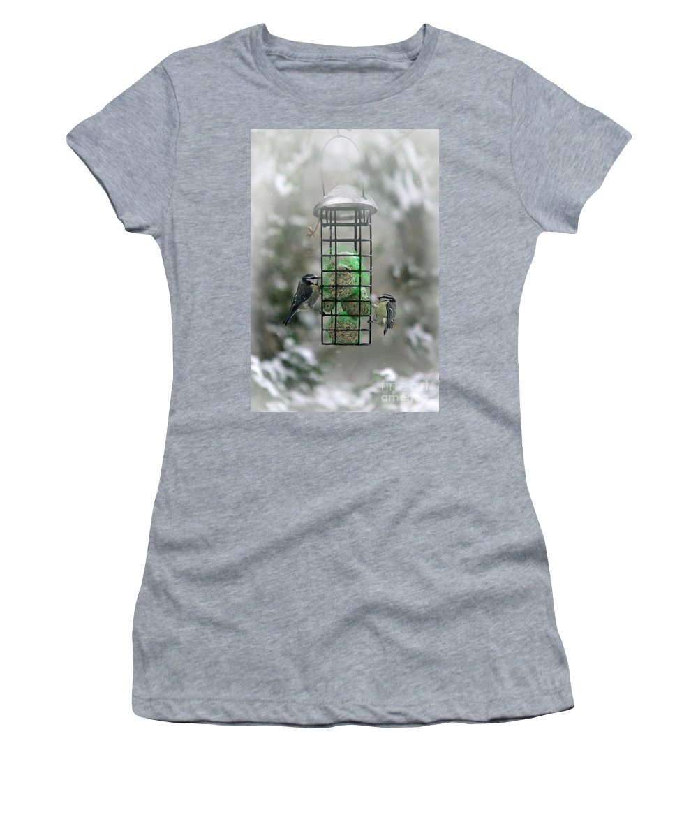Winter Women's T-Shirt (Athletic Fit) featuring the photograph Feed The Hunger by Angel Ciesniarska