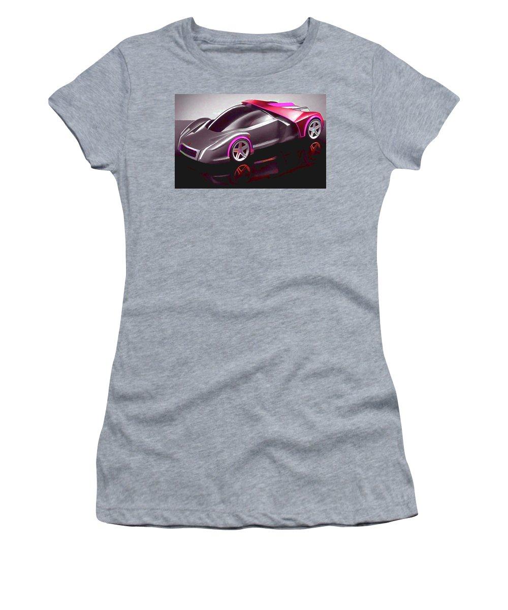 Ferrari Women's T-Shirt (Athletic Fit) featuring the painting Ferrari 14 by Jeelan Clark
