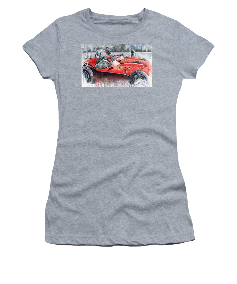 Car Women's T-Shirt (Athletic Fit) featuring the painting Ferrari Dino 246 F1 1958 Mike Hawthorn French Gp by Yuriy Shevchuk