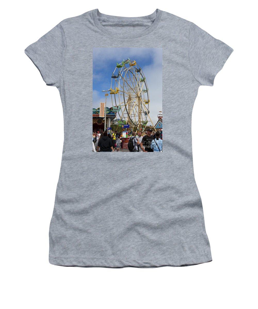 Ferris Wheel Women's T-Shirt featuring the photograph Ferris Wheel Santa Cruz Boardwalk by Jason O Watson