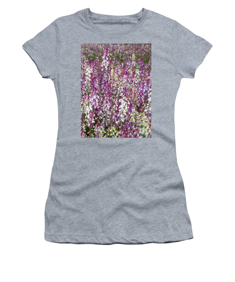 Flowers Women's T-Shirt (Athletic Fit) featuring the photograph Field Of Multi-colored Flowers by Carol Groenen