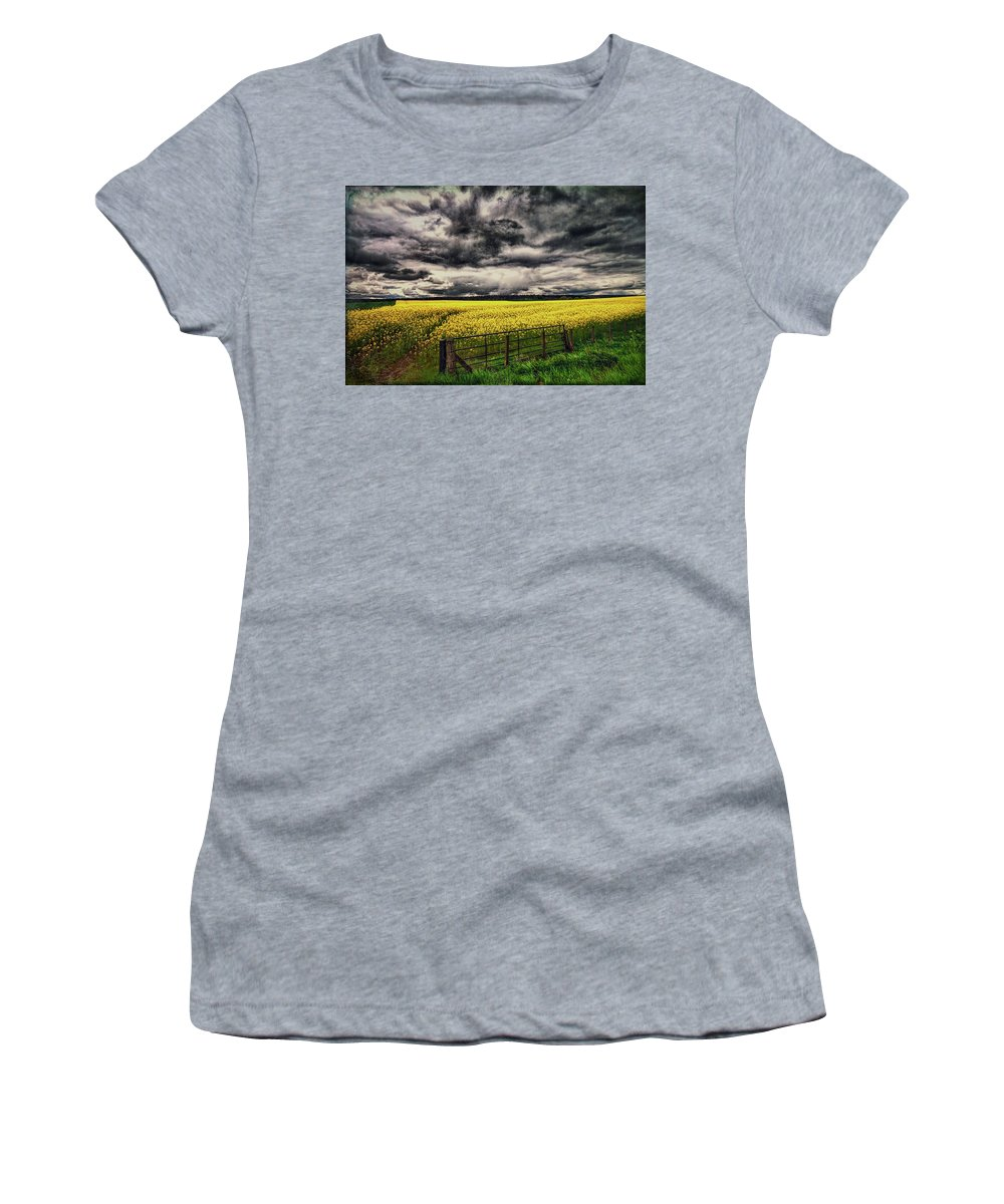 Grunge Women's T-Shirt (Athletic Fit) featuring the photograph Field Of Yellow Flowers by Sharon Ann Sanowar