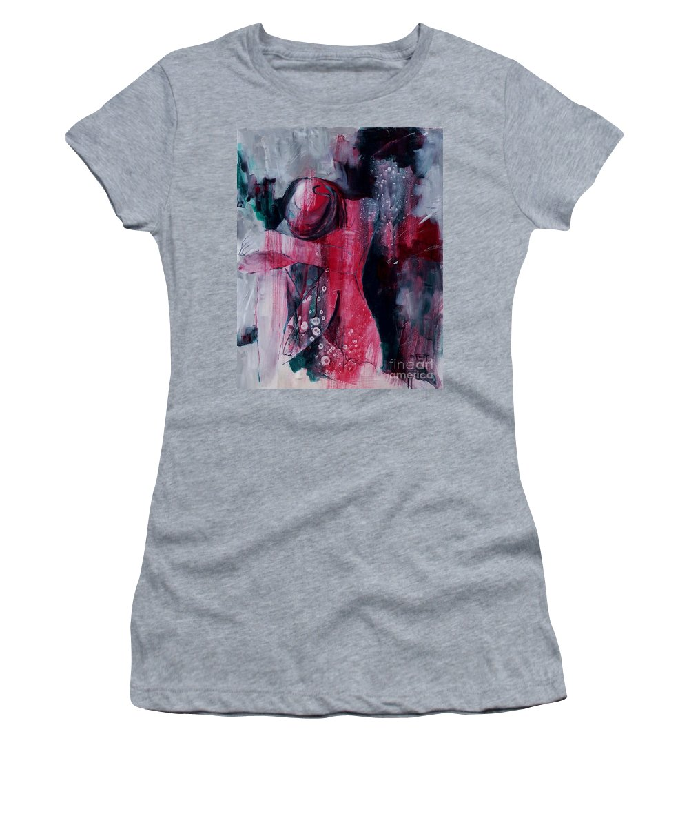 Abstract Expressionism Women's T-Shirt (Athletic Fit) featuring the painting Figure Study 021 by Donna Frost