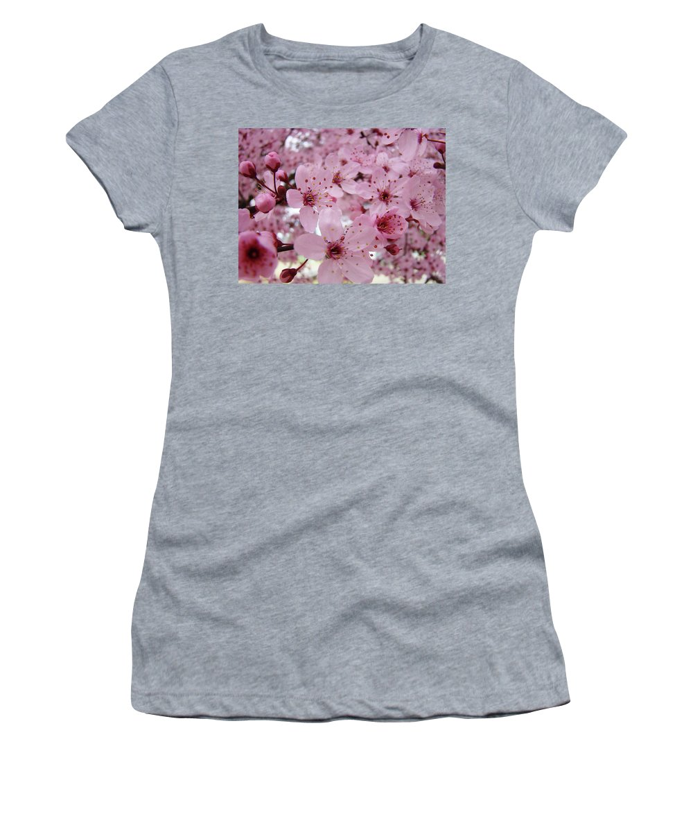 Blossom Women's T-Shirt featuring the photograph Fine Art Prints Spring Pink Blossoms Trees Canvas Baslee Troutman by Baslee Troutman